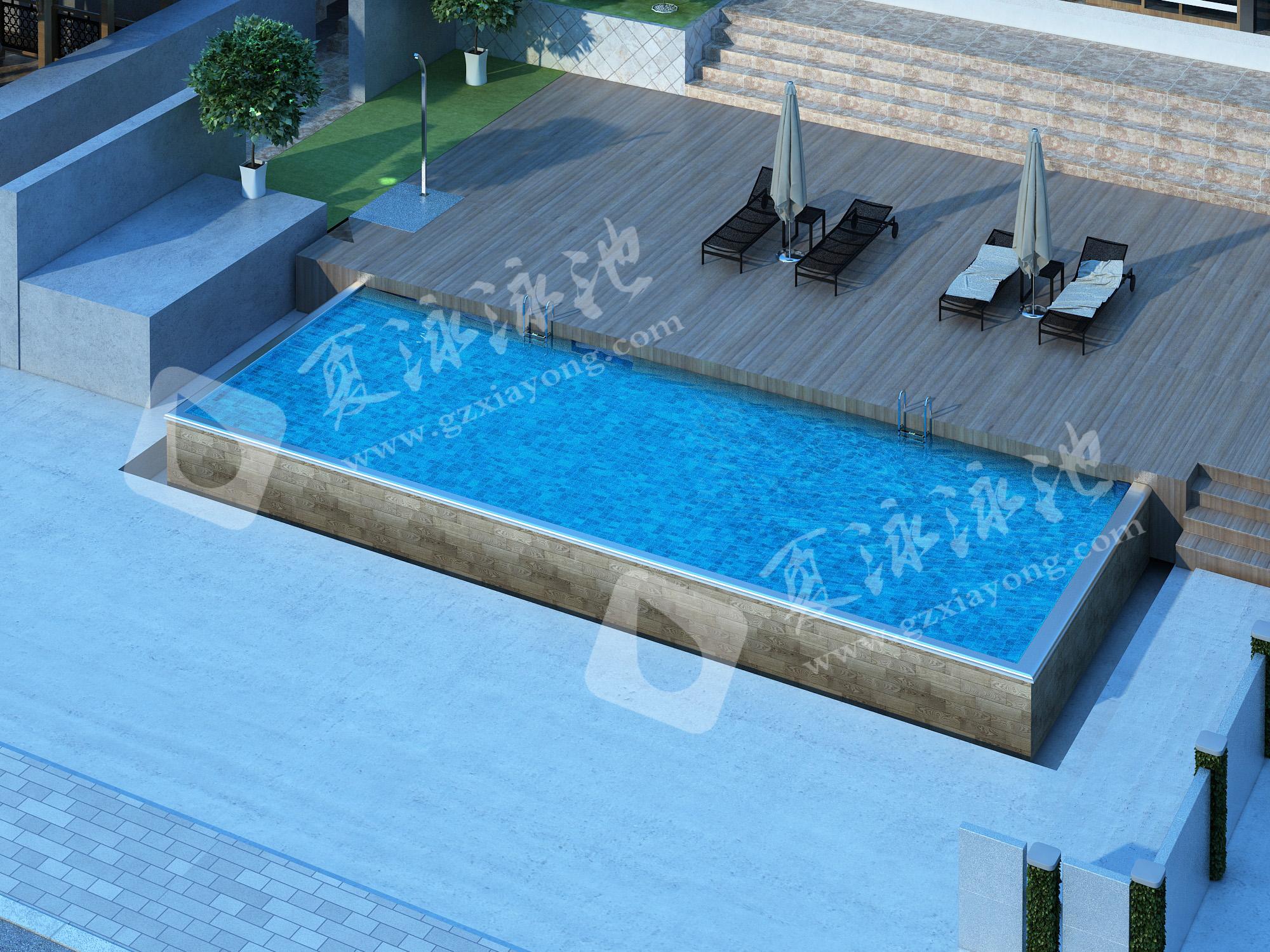 别墅类型私人类型钢结构拆装式游泳池解决方案