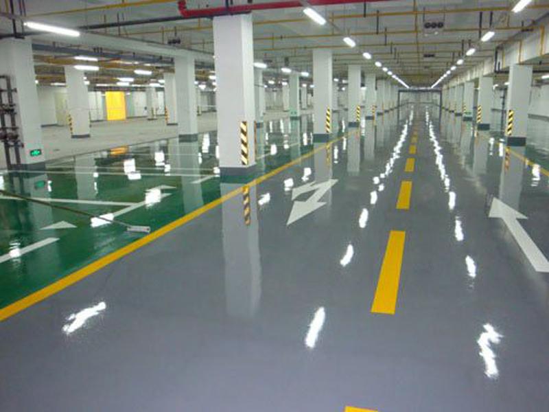 增城金地樓盤地下車庫環氧地坪漆施工案例