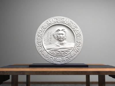 青年毛泽东长沙橘子洲雕塑瓷盘摆件