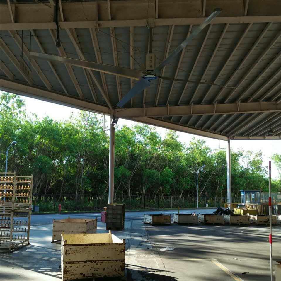 韵达华南分拣中心通风降温安装工业大风扇与土禾风机工程案例