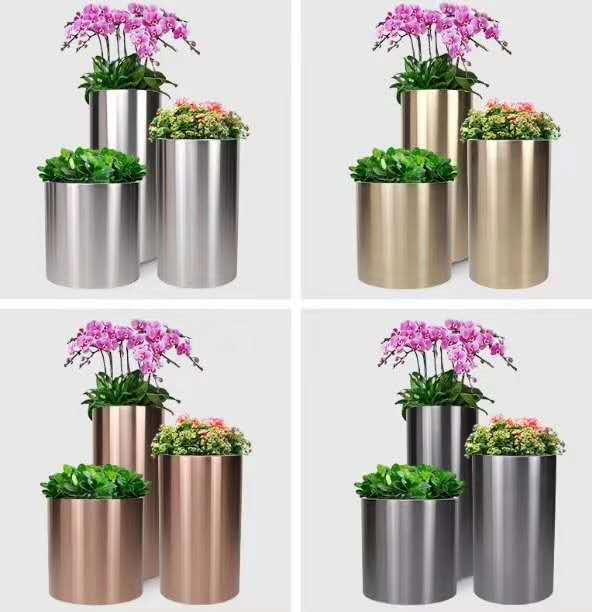 不銹鋼藝術花盆 (11)