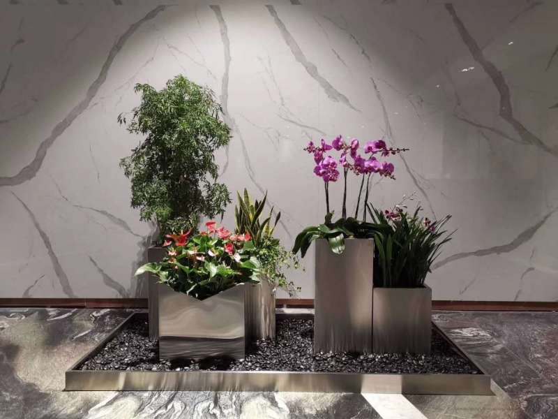 不銹鋼藝術花盆 (3)