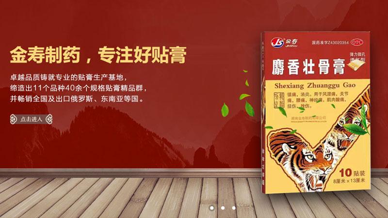 金寿制药网站设计,膏药网站设计,响应式网站建设