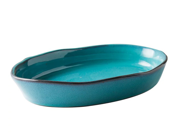 綠釉橢圓魚盤