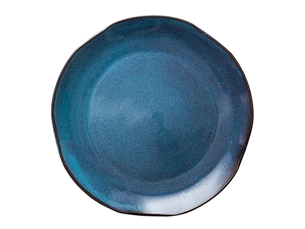 10寸漸變藍釉平盤