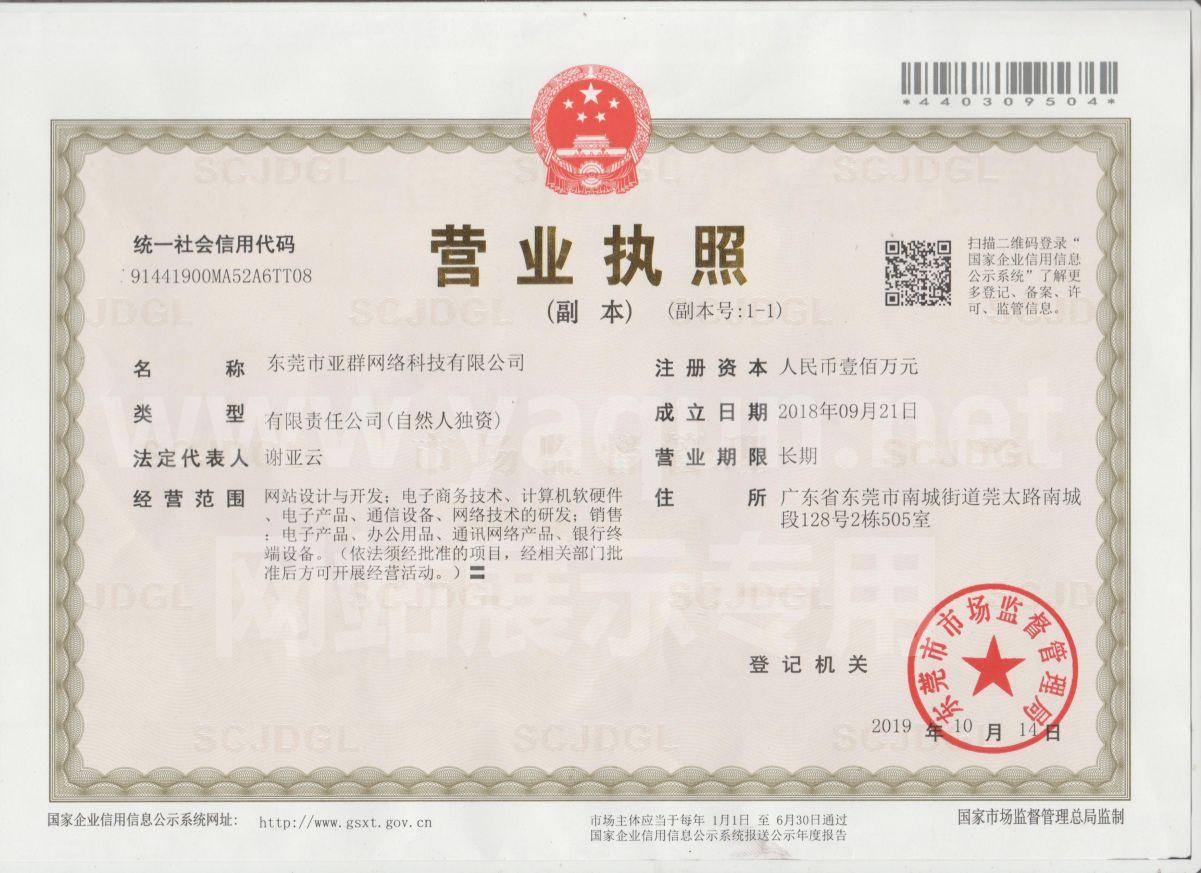 网站建设公司营业执照展示