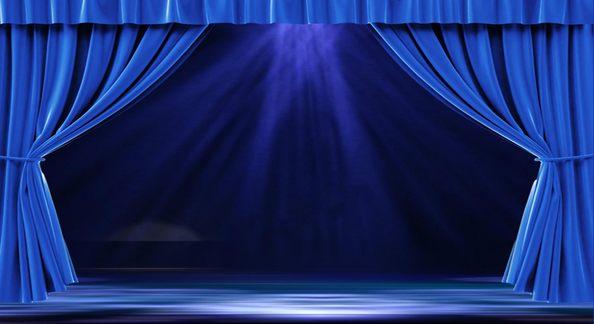 维景蓝色舞台幕布