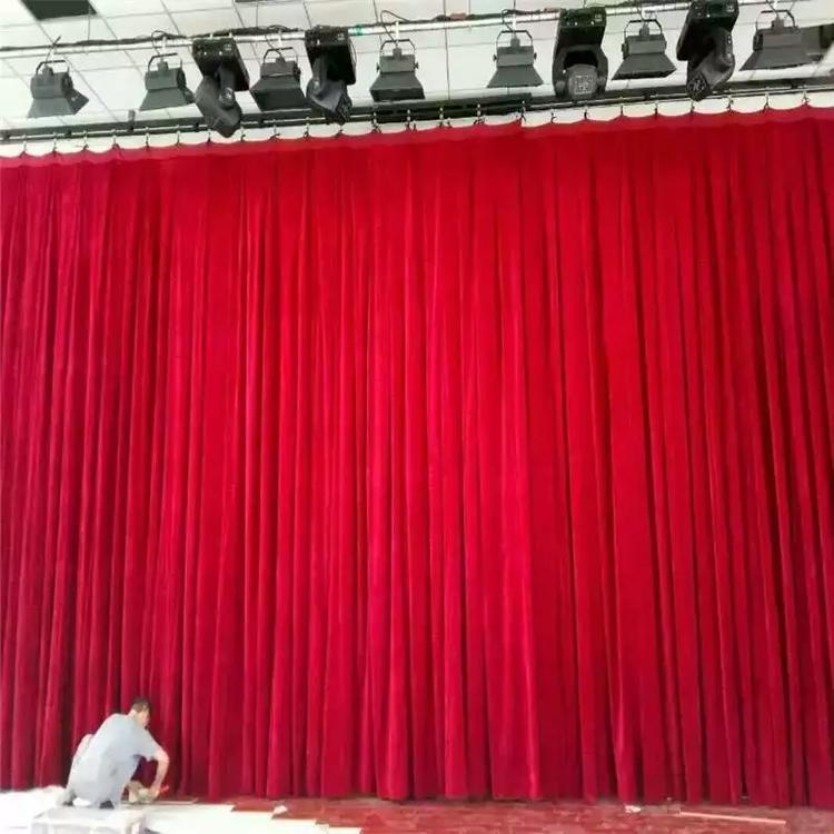 定做无光天鹅绒面料舞台幕布不反光阻燃天鹅绒舞台幕