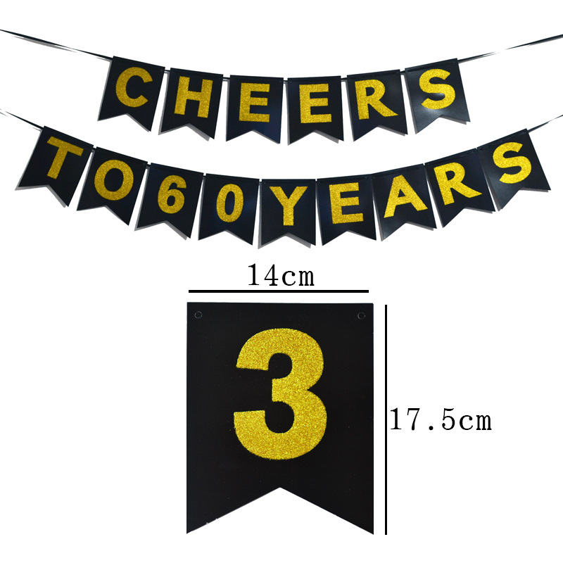 闪金粉拉旗生日CHEERS TO 30 YEARS字母拉旗金葱粉横幅派对布置装饰