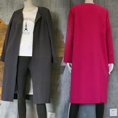 女装2018秋冬新品西装外套 纯色中长款绒长袖百搭时尚外套