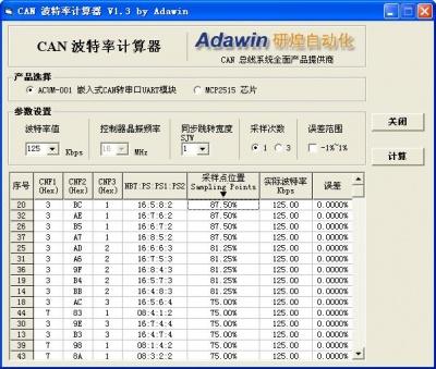 CAN波特率计算器(MCP2515适用)