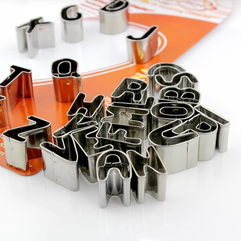 不锈钢饼干模26个英文字母翻糖模具橡皮泥水果模具