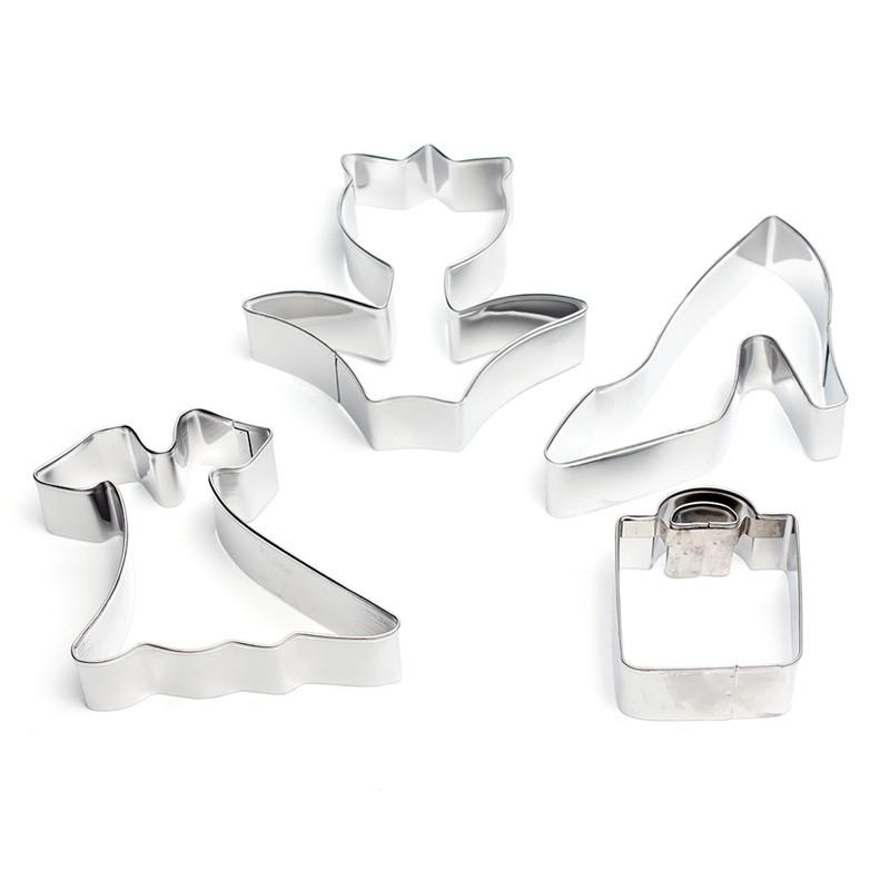 情人节不锈钢饼干模4件套 裙子玫瑰花高跟鞋模具DIY烘焙工具现货