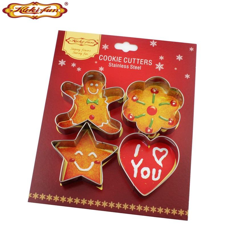圣诞节不锈钢饼干模套装 姜饼人梅花心型烘焙工具蛋糕模具
