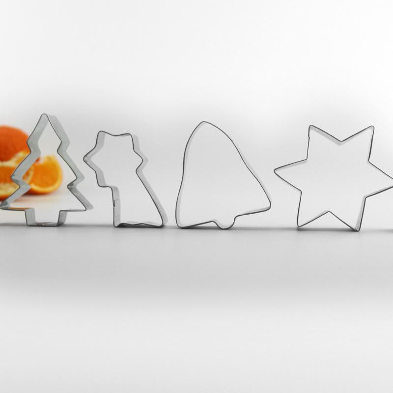 新品圣诞节不锈钢饼干模6件套装流星形状模具饼印圣诞树