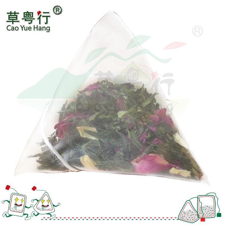 草粤行玫瑰花龙井绿茶进口尼龙纱网三角茶包袋泡茶oem贴牌代加工