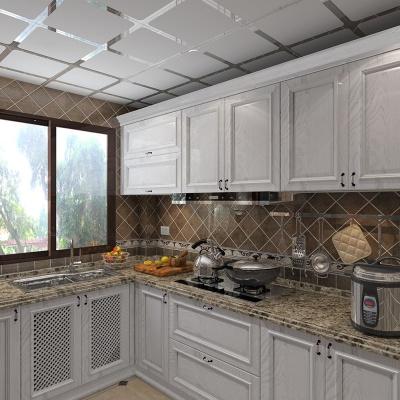 杭州定制家用美式廚房櫥柜實木定做石英石臺面上門測量設計