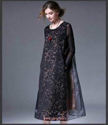 夏装新款复古中长款连衣裙欧根纱蕾丝连衣裙宽松显瘦欧根纱连衣裙很有公主的feel