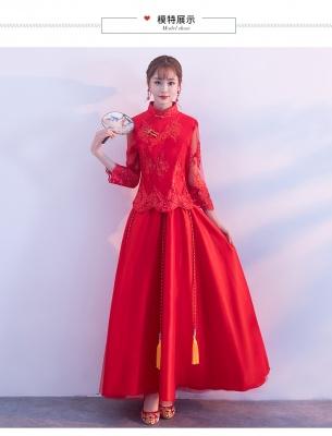 中式敬酒服结婚旗袍新款中国风秋结婚显瘦旗袍礼服中国风新娘红色修身显瘦旗袍