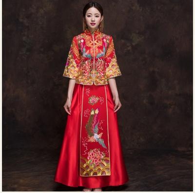 秋冬季新款新娘结婚秀禾服中式刺绣新娘秀禾服嫁衣中国风彩凤中式刺绣秀禾服