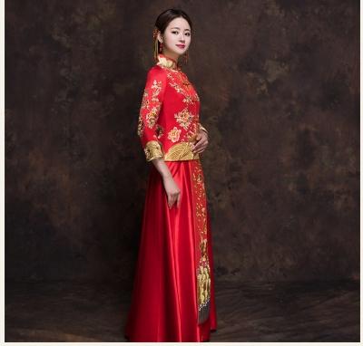 新款秋冬季新新娘结婚秀禾服中式修身复古显瘦秀禾服中式复古设计新娘结婚秀禾服嫁衣