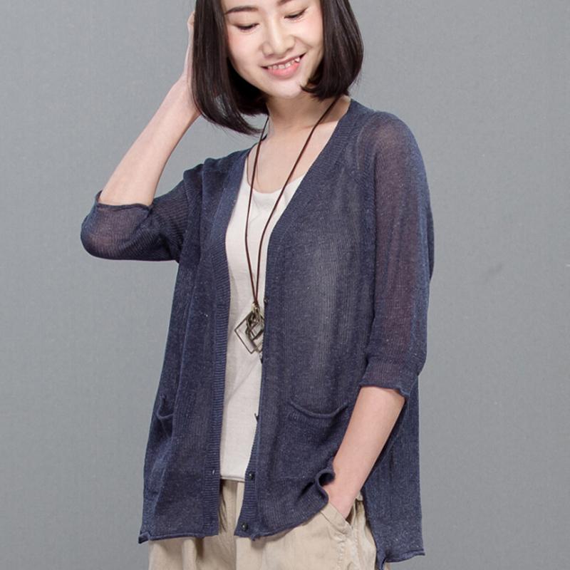夏季新款女装通勤五分袖单排扣针织空调衫纯色V领斯琴风格空调衫宽松文艺超薄棉麻空调开衫