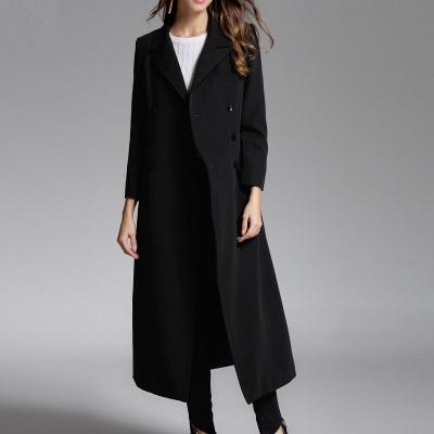 欧泽斯 女士双排扣风衣显瘦长款外套