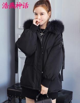 新款韩版女装貉子大毛领长袖羽绒服冬季长袖短款连帽羽绒服韩版短款百搭收腰显瘦羽绒服