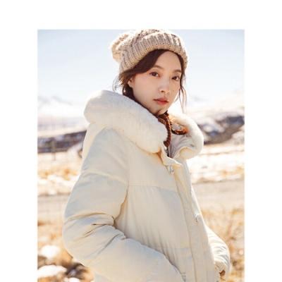 冬装新款连帽毛领羽绒服潮流时尚毛领休闲长款羽绒服