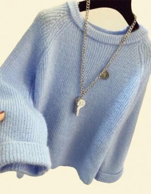 秋冬季韩版新款圆领针织衫韩版时尚圆领宽松套头毛衣韩版新款套头针织织衫