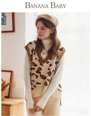 冬装新款性感豹纹针织衫无袖坎肩针坎肩织背心女装冬季无袖性感豹纹针织毛衫
