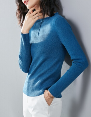 秋冬装新款长袖纯色针织打底衫冬装新款半高圆领套头毛衣半高圆领修身纯色针织毛衣