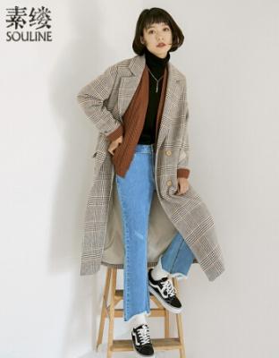 新款文艺千鸟格复古毛呢外套新款时尚长款复古宽松大衣冬季新上文艺复古宽松大衣