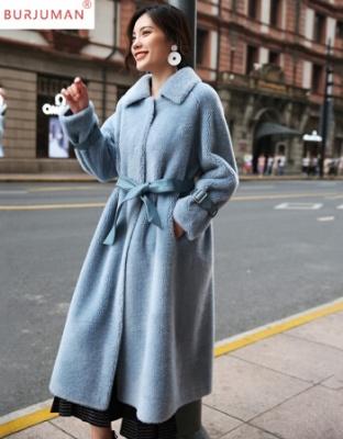 冬新款中长款轻奢品牌羊剪绒大衣冬装韩版女装中长款颗粒精仿羊毛外套精仿羊毛复合皮毛一体宁精仿皮草外套