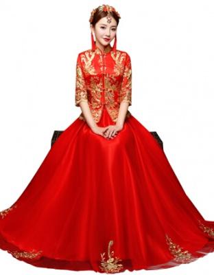 轻奢品牌新娘中式婚纱服旗袍出阁结婚旗袍敬酒服轻奢中式旗袍礼服婚纱