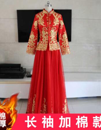 新款新娘中式婚纱礼服旗袍结婚秀禾服中式古典婚纱敬酒服旗袍