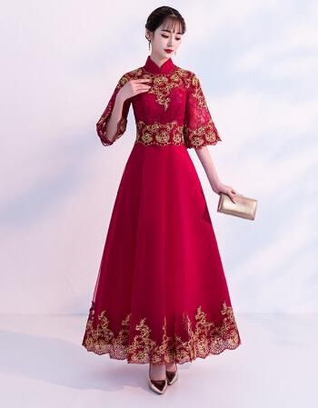 新款秋季新娘中式回门旗袍冬季新款喇叭袖短款显瘦结婚中式旗袍礼服轻奢品牌新娘敬酒宴晚旗袍