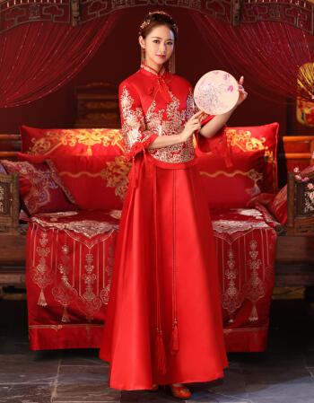 新款长袖婚纱敬酒服新娘嫁衣冬季新嫦娥结婚中国红大码龙凤褂新款长袖古典修身旗袍