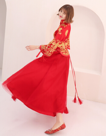 大码显瘦龙凤褂旗袍新款中式敬酒服婚纱旗袍冬季新款新娘结婚嫁衣长袖龙凤褂