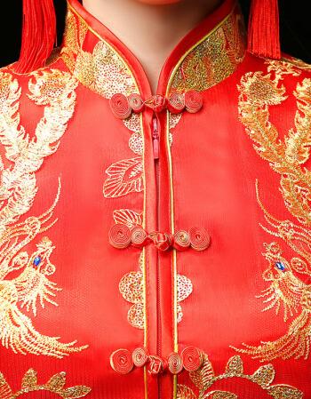 新娘新款中式婚纱结婚秀禾服冬季新良结婚中式婚纱旗袍新娘出阁结婚旗袍敬酒服