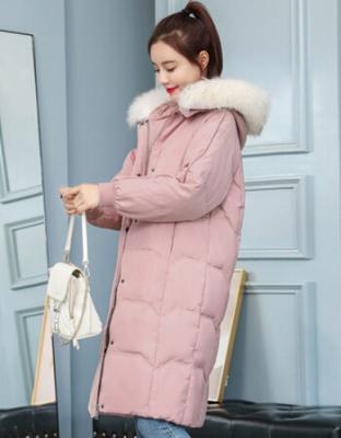 冬季新品女装韩版修身加厚羽绒服-中长款大毛领简约纯色羽绒衣-韩版大毛领简约修身加厚羽绒服