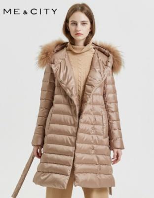 冬季新款纯色连帽长款羽绒服直筒型加厚长款羽绒服新款纯色鸭绒加厚羽绒服