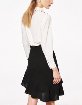 白色长袖套头衬衫半身裙套装洋气白色优雅新款女装春荷叶边装套装荷叶边网纱半身裙气质两件套