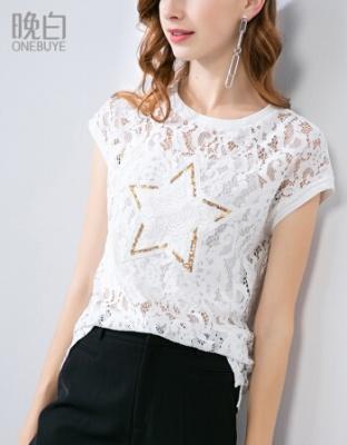 时尚淑女百搭圆领T恤亮片纯色蕾丝衫夏季淑女亮片蕾丝衫
