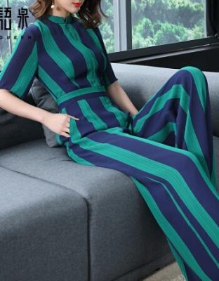 新款高腰显瘦雪纺连衣裤夏季新款雪纺条纹短袖阔腿裤蓝绿条纹短袖雪纺连体裤