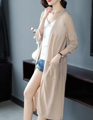 新款披衫空调衫薄款披肩长款女装亚麻夏季外搭针织开衫新款女装夏季薄款披肩外套亚麻针织开衫