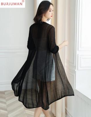 夏季女装轻奢不规则针织外套空调衫唯美黑色不规则针织空调衫薄薄的唯美轻奢不规则开衫