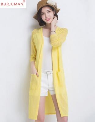 夏季新款薄款披肩宽松黄色外套新款女装薄款轻奢针织空调中长款冰丝轻奢空调衫