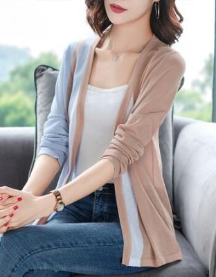 夏装新款短款冰丝针织衫新款长袖外搭洋气空调衫藏青色新款长袖薄披肩空调衫针织衫