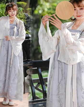 中国风重工刺绣汉服女襦裙灰色绣花款全套汉服